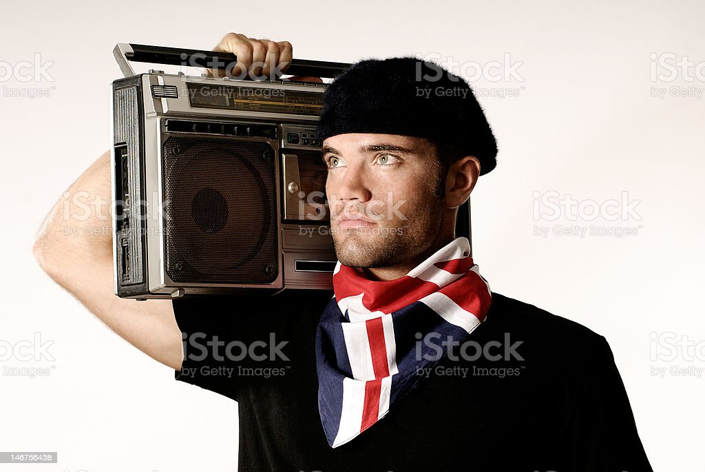 Shouldering a boombox stock photo