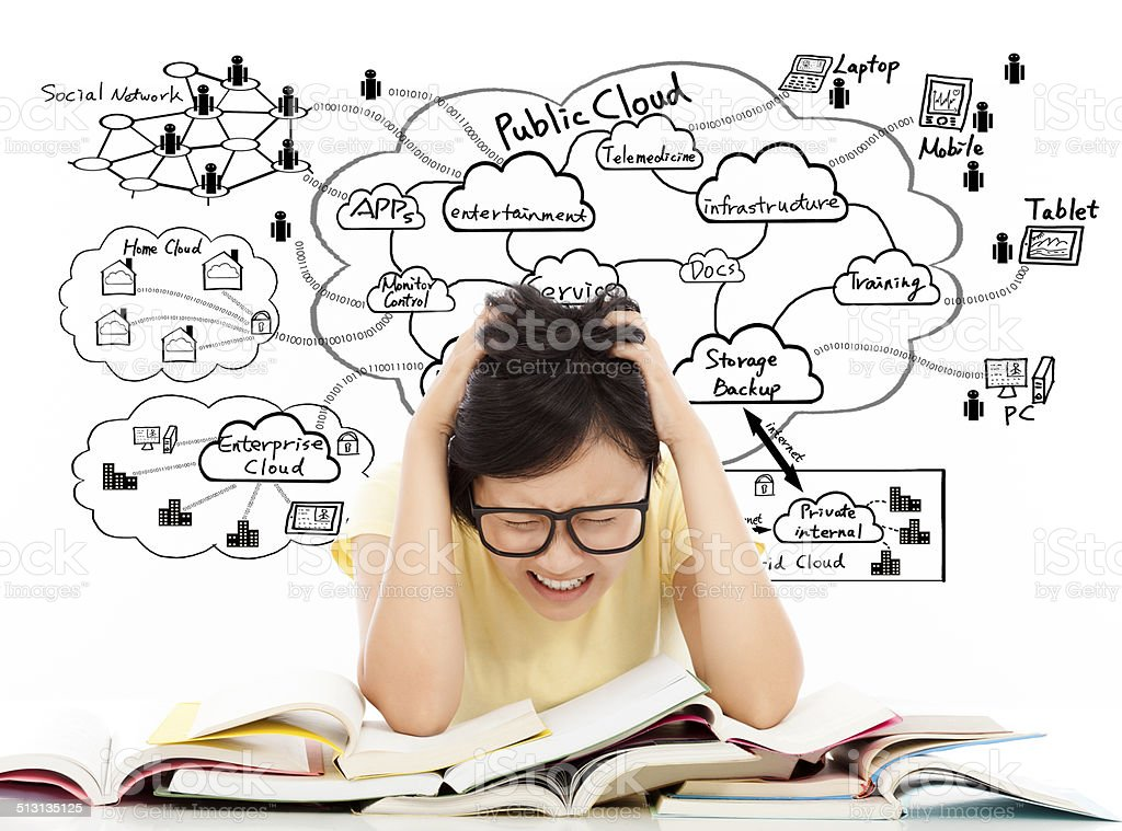shouting and painful student girl with cloud computing structure stock photo