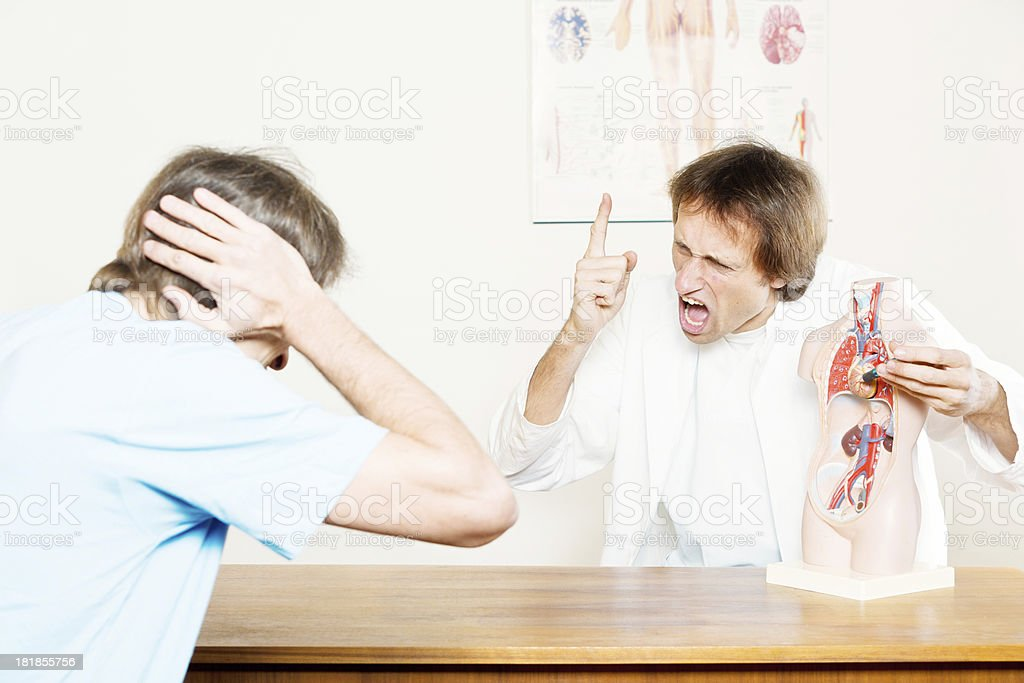 Shouting at the patient stock photo