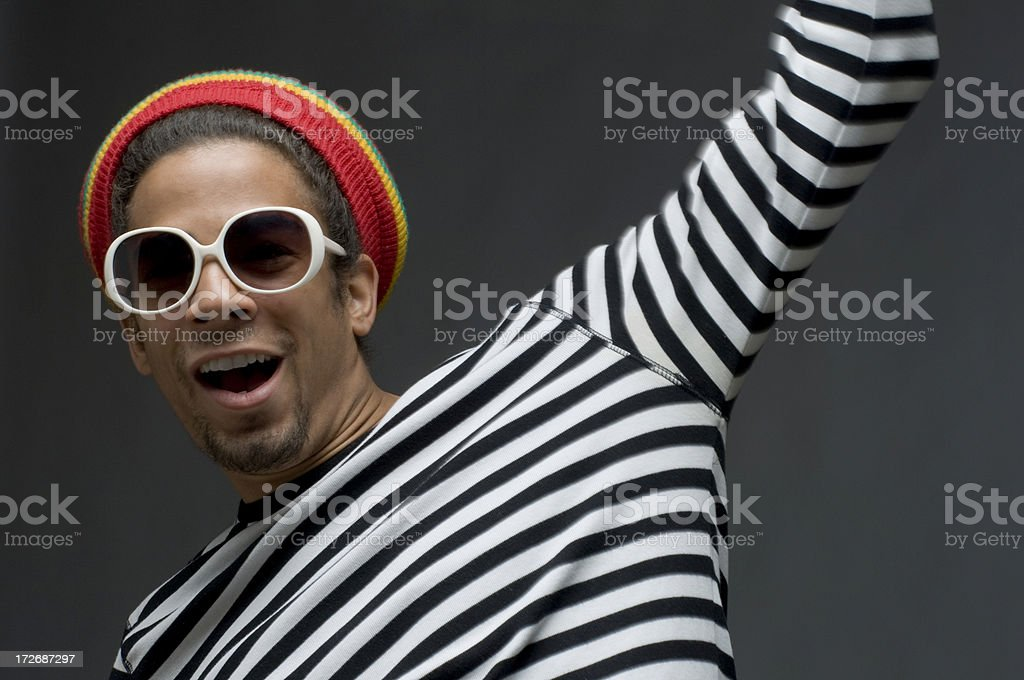 shouting cool funky man stock photo
