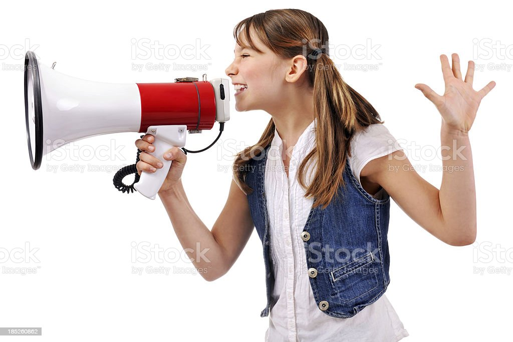 Shouting Cute Young Girl With Megaphone royalty-free stock photo