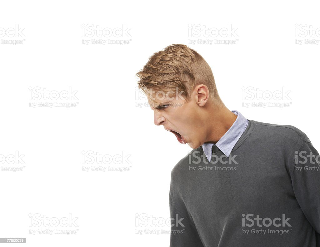 Shouting down at the competition royalty-free stock photo