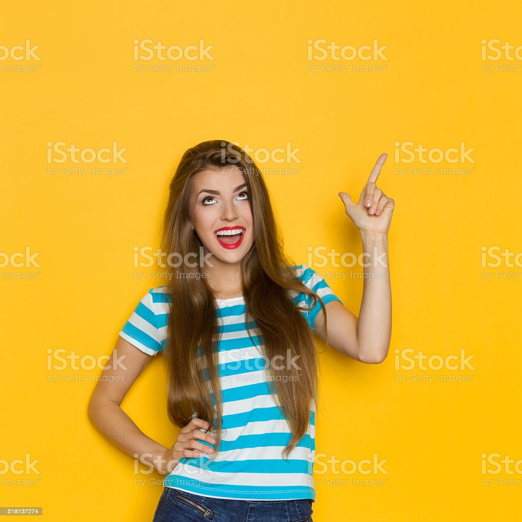 Shouting Girl Looking Up stock photo