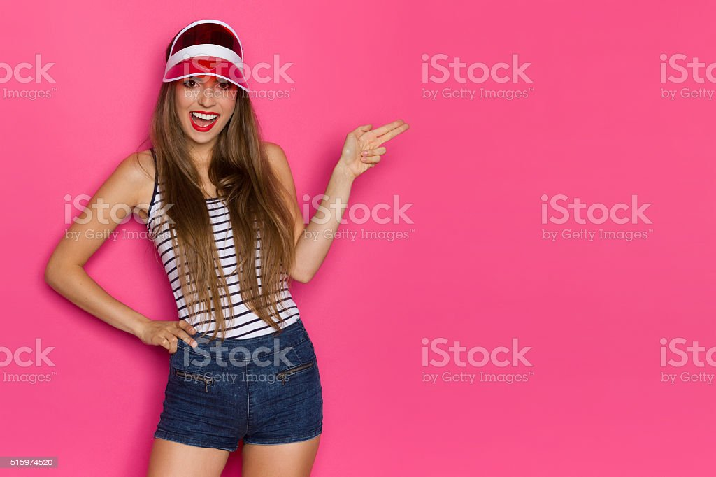 Shouting Girl Pointing stock photo