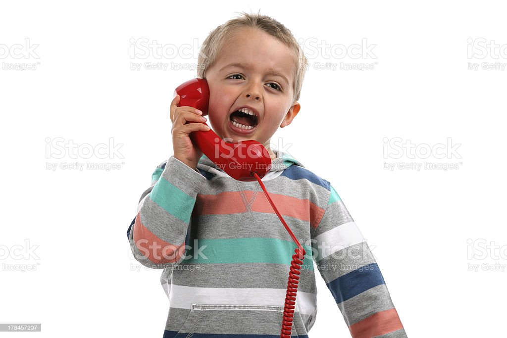 Shouting into a telephone royalty-free stock photo