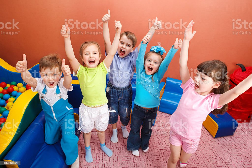 Shouting kids stock photo