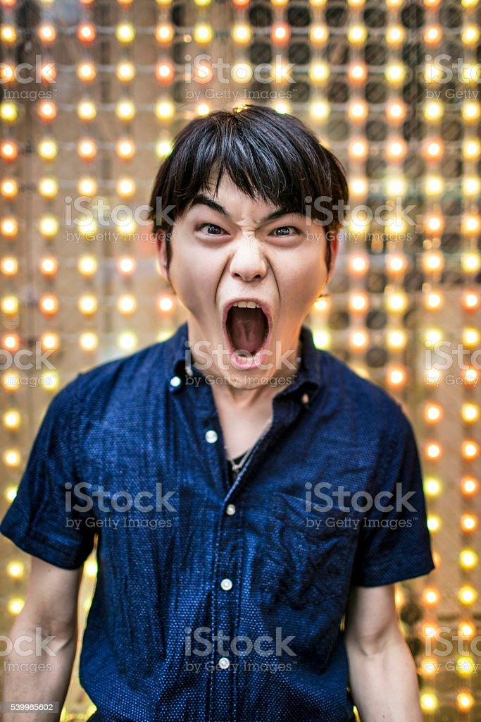 Shouting loud stock photo