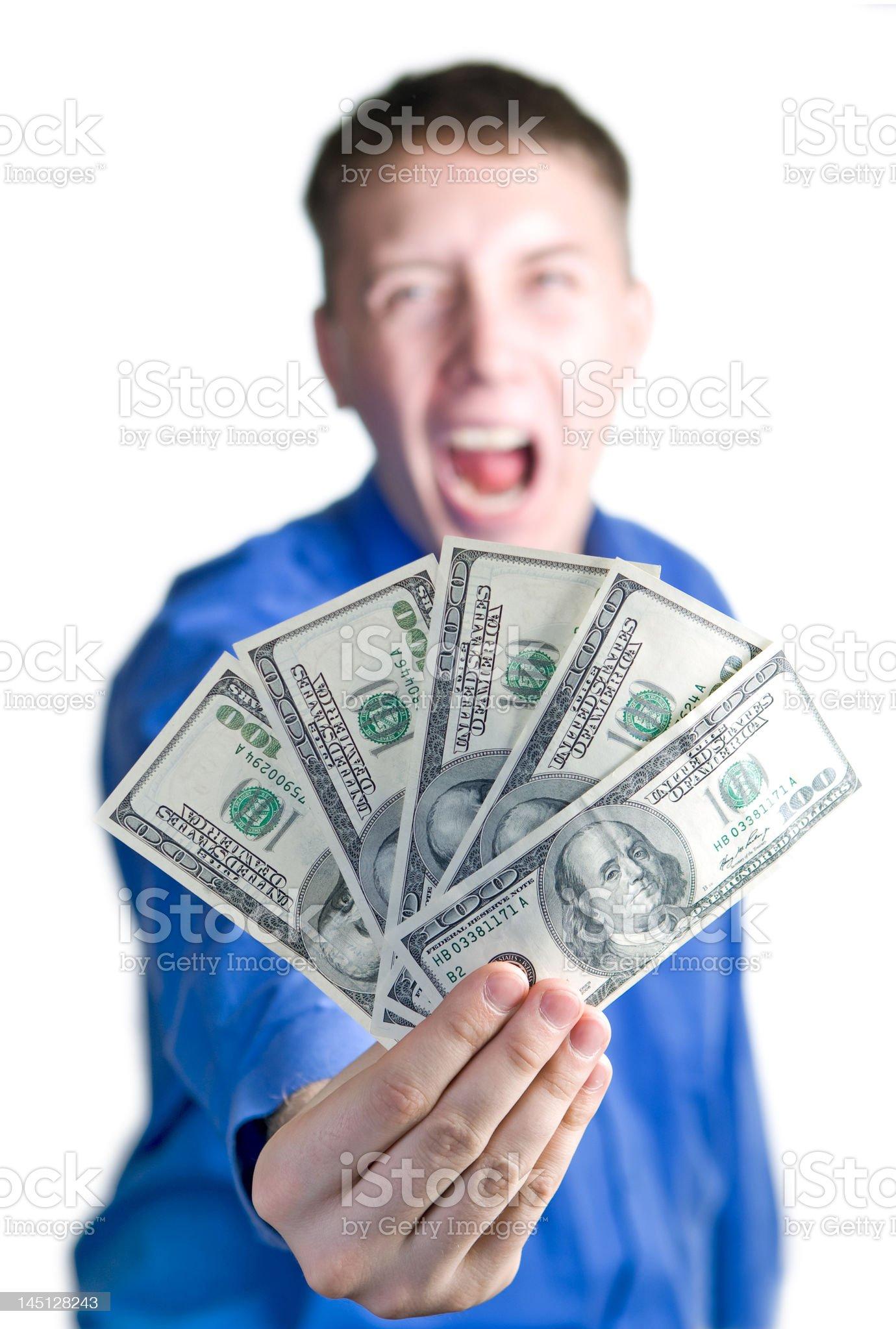 Shouting man hold $500 royalty-free stock photo