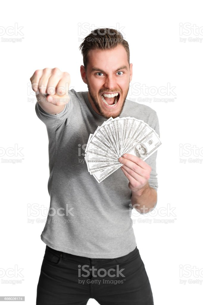Shouting man with cash stock photo