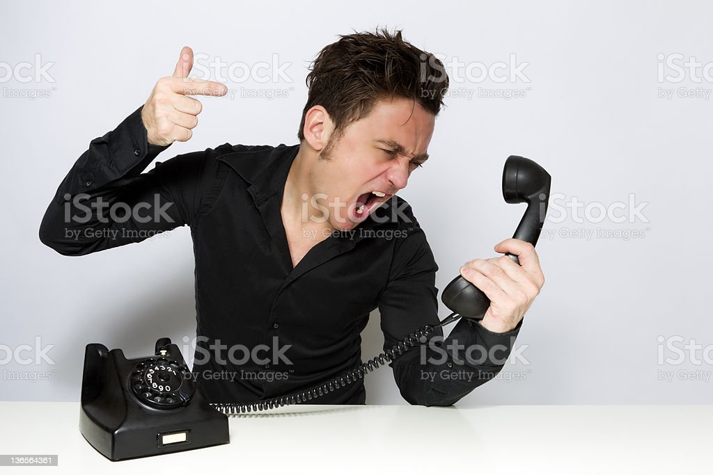 Shouting on the phone stock photo