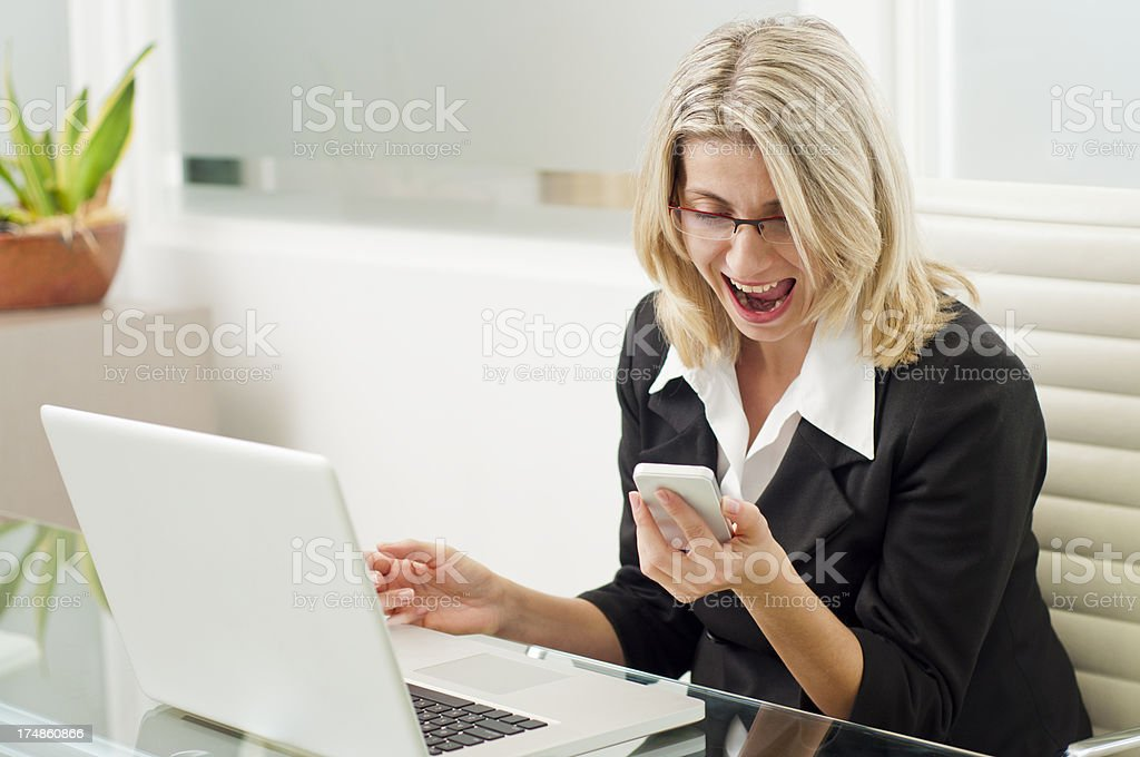 Shouting over the phone royalty-free stock photo