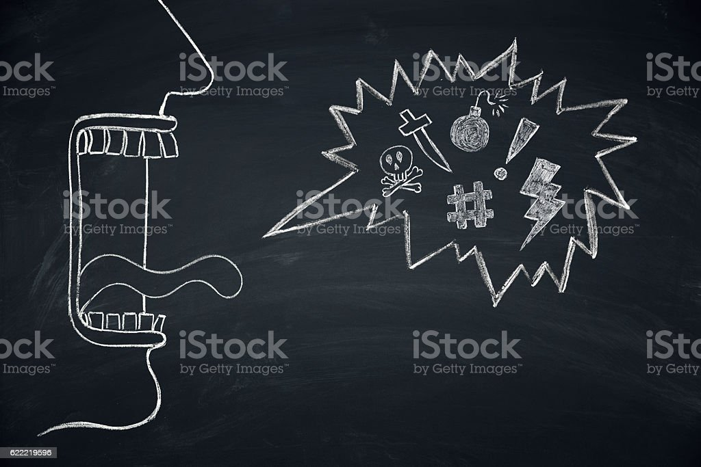 Shouting screaming person with open mouth stock photo