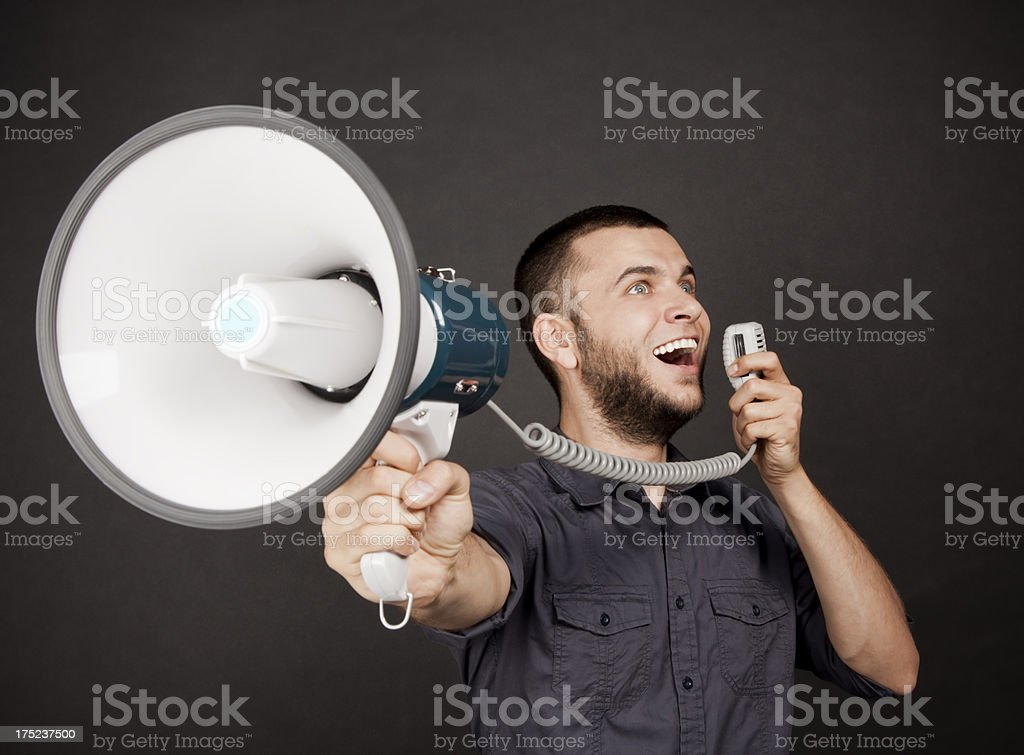 Shouting Through The Megaphone royalty-free stock photo