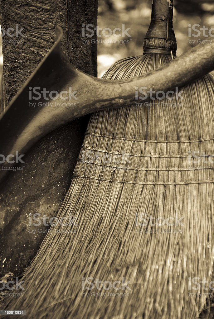 Shovel and Broom royalty-free stock photo