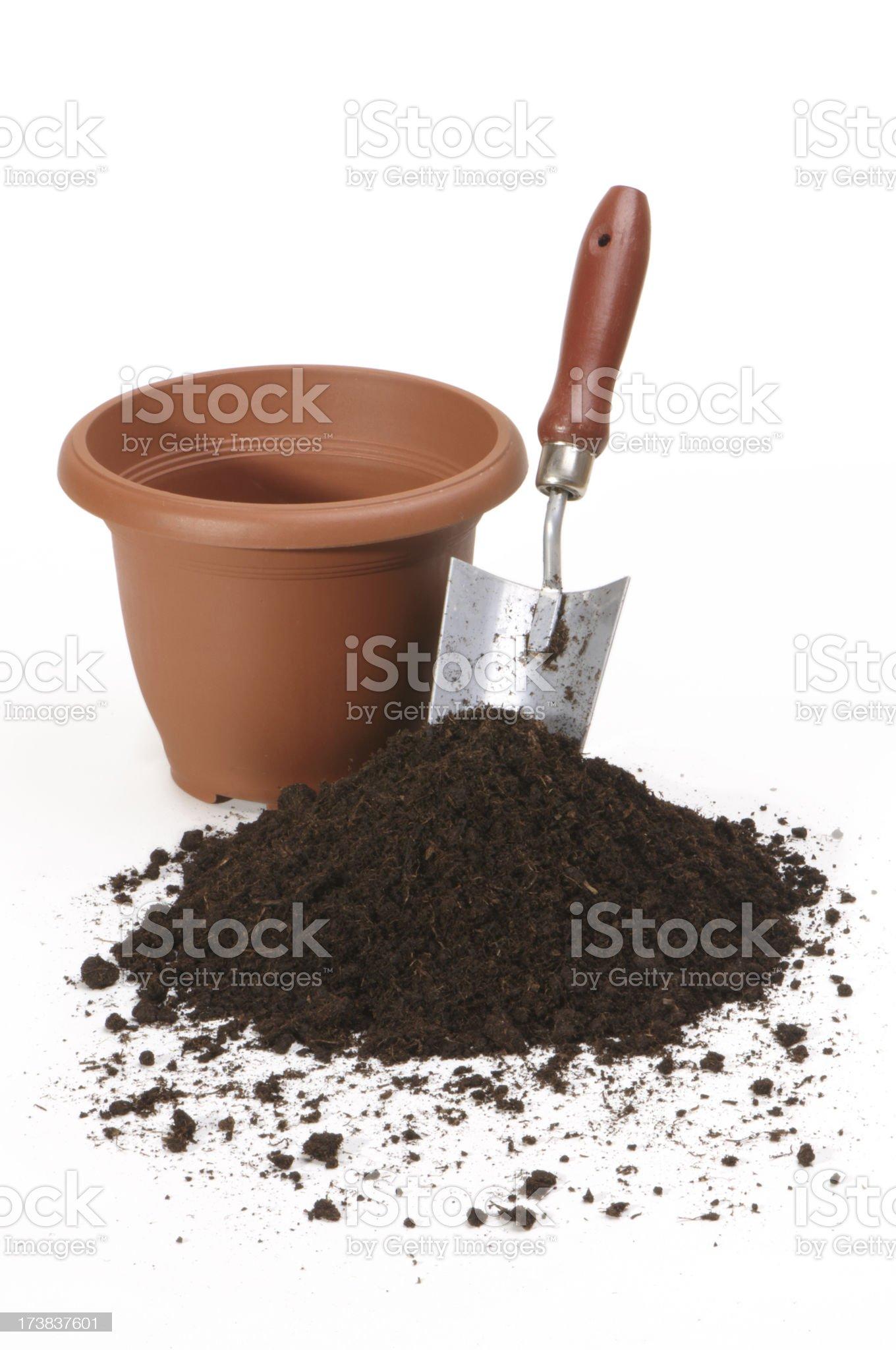 shovel and flowerpot royalty-free stock photo