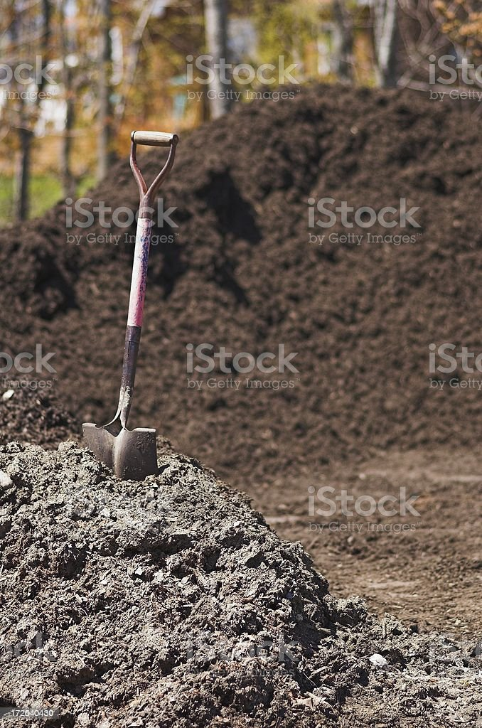 shovel and mulch stock photo