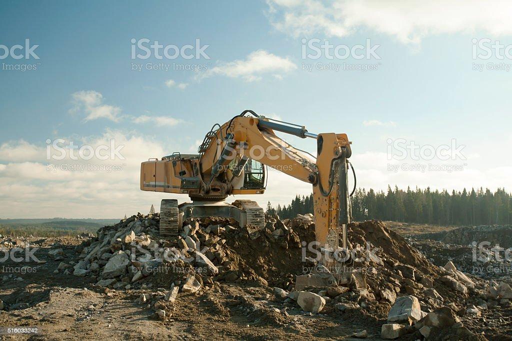 Shovel Excavator Digging Ground stock photo