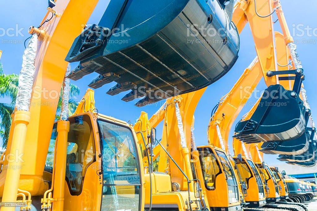 Shovel excavator on Asian machinery  rental company stock photo