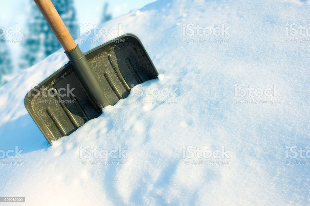 Shovel for snow removal stock photo