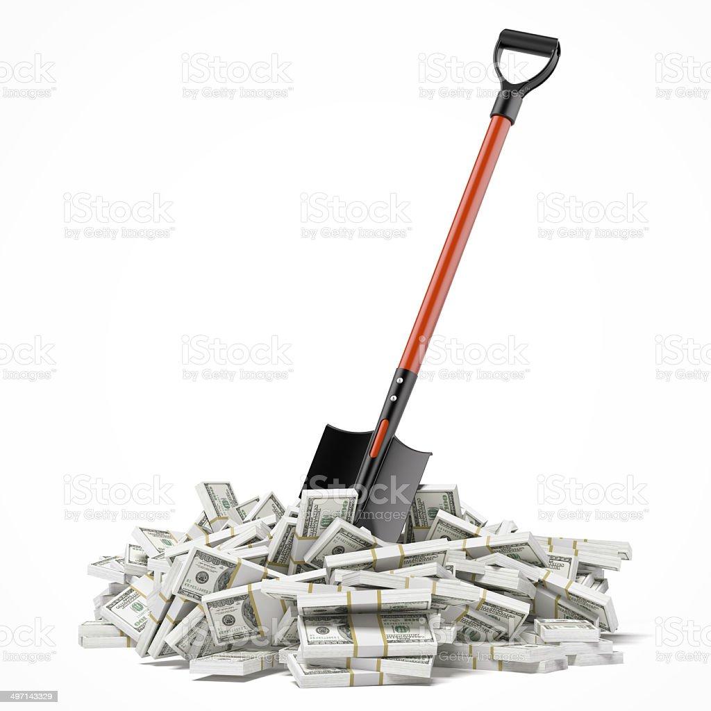 Shovel up dollars stock photo