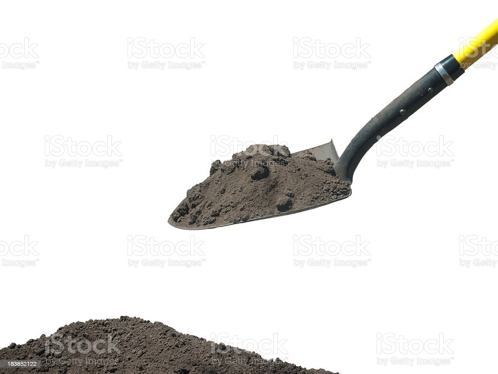 Shovel with soil stock photo