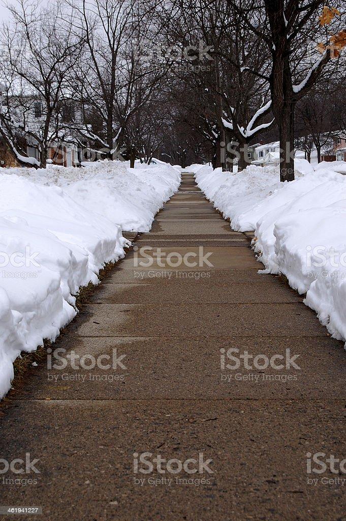 shoveled neighborhood sidewalk stock photo