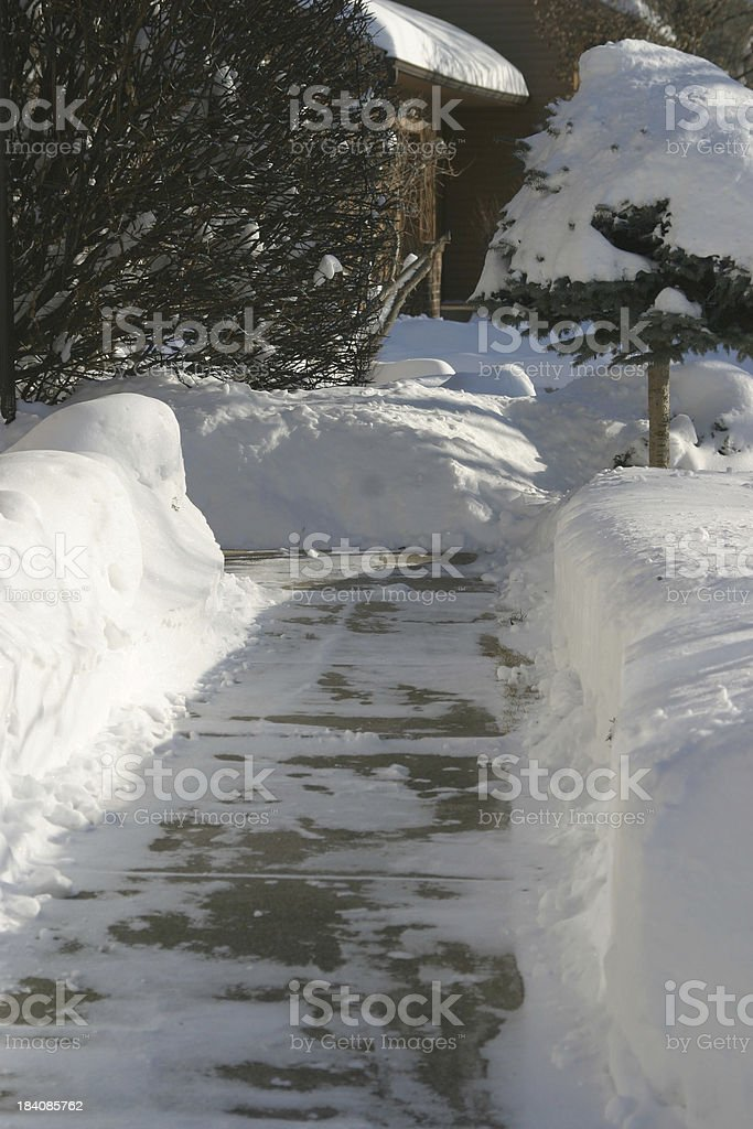 shoveled sidewalk royalty-free stock photo