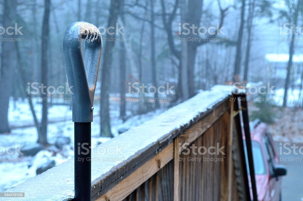 Shoveling Ice stock photo