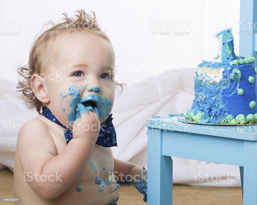 Shoving_Birthday_Cake stock photo