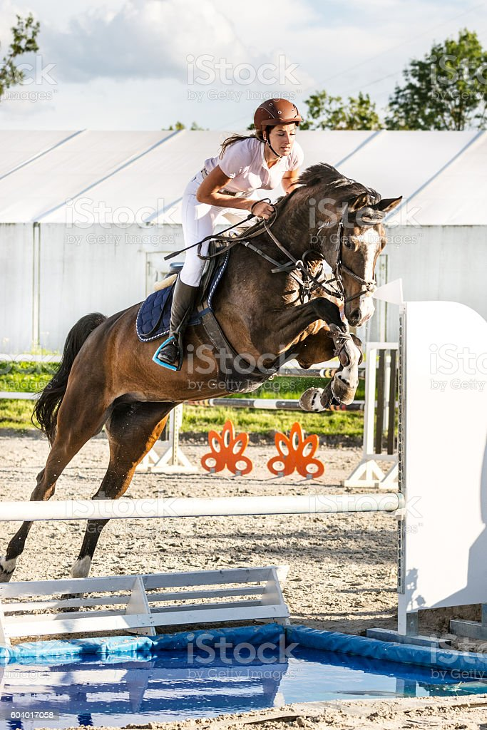 Show jumping - horse with rider jumping over water obstacle stock photo