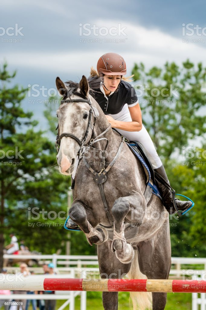 Show jumping - horse with rider passing over hurdle stock photo