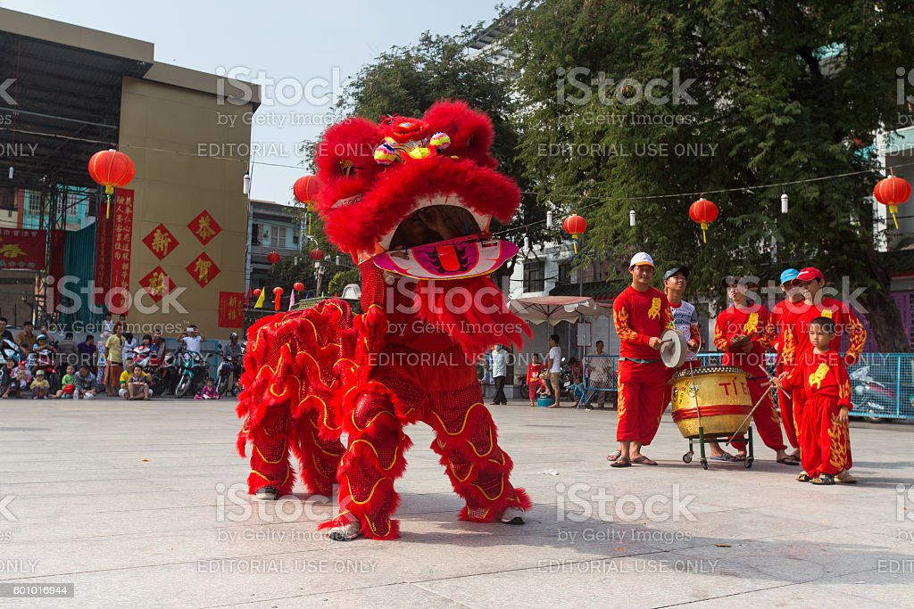Show of lion or dragon dance  at Pagoda, China Town stock photo