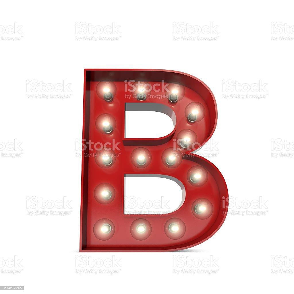 Showbiz cinema movie theatre illuminated letter B stock photo