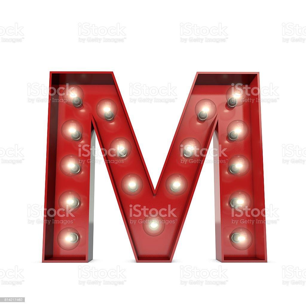 Showbiz cinema movie theatre illuminated letter M stock photo