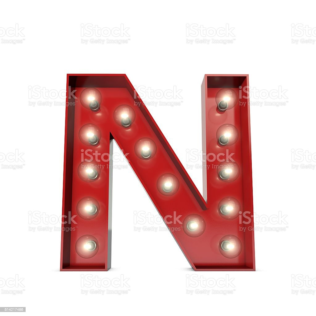 Showbiz cinema movie theatre illuminated letter N stock photo