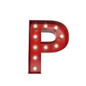 Showbiz cinema movie theatre illuminated letter P