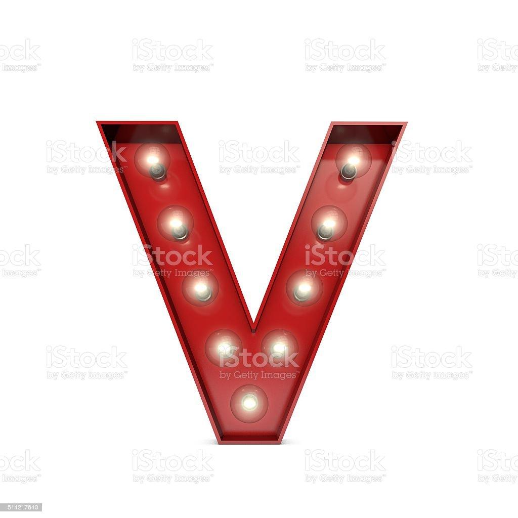 Showbiz cinema movie theatre illuminated letter V stock photo