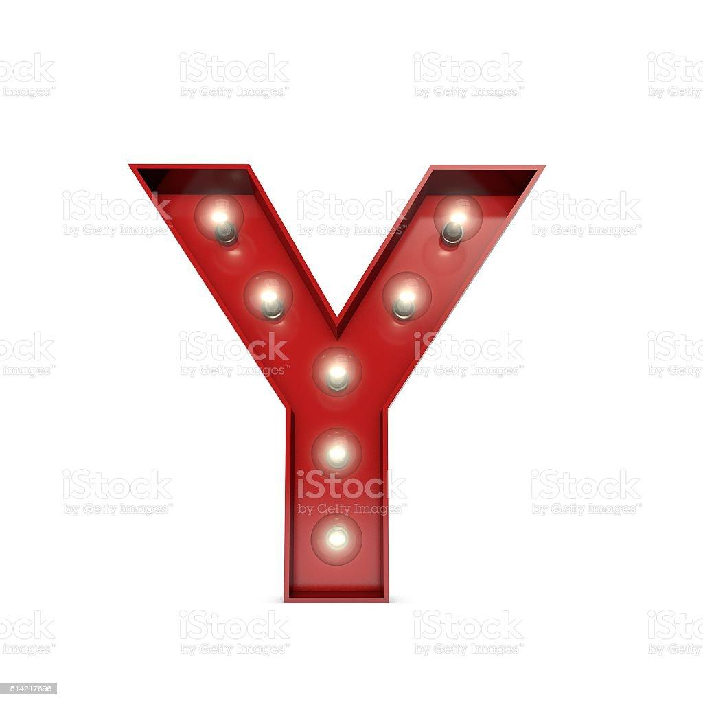 Showbiz cinema movie theatre illuminated letter Y stock photo