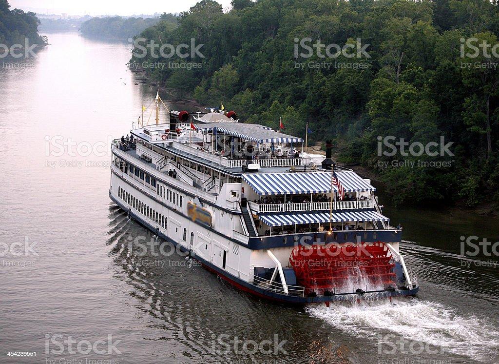 Showboat headed up stream stock photo
