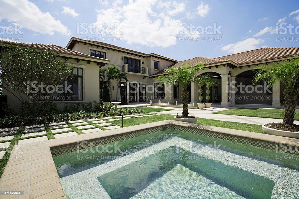 Showcase home and pool stock photo