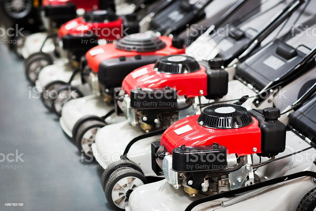 Showcase of  the lawn mower in store stock photo