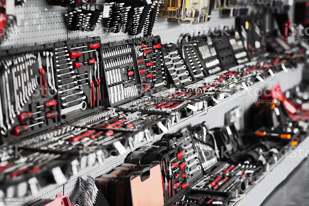 Showcase of tool store (shop) stock photo