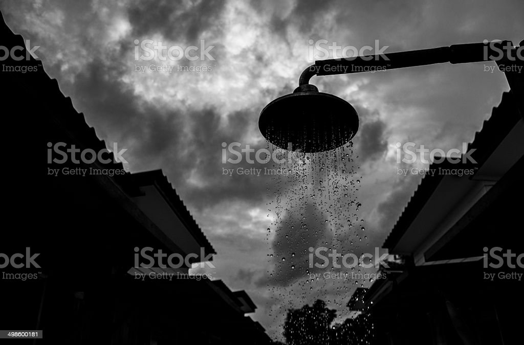 Shower Head Showing Dropsc In The Cloudy Day royalty-free stock photo