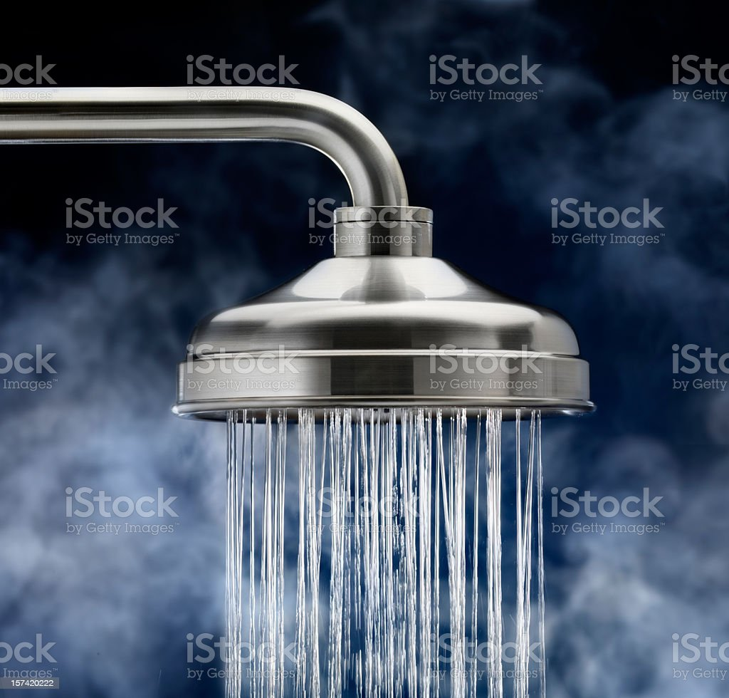Shower Head with steam stock photo
