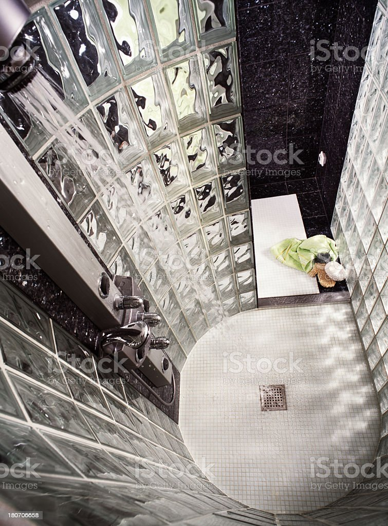 Shower in glass stock photo