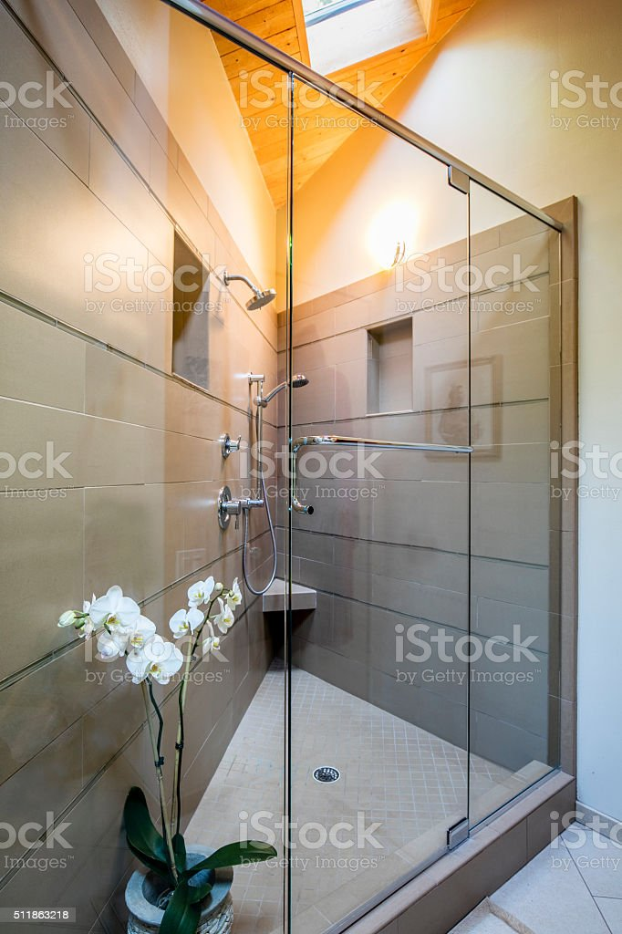 Shower in home stock photo