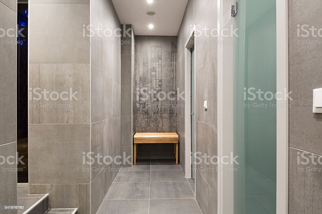 Shower in spa center stock photo