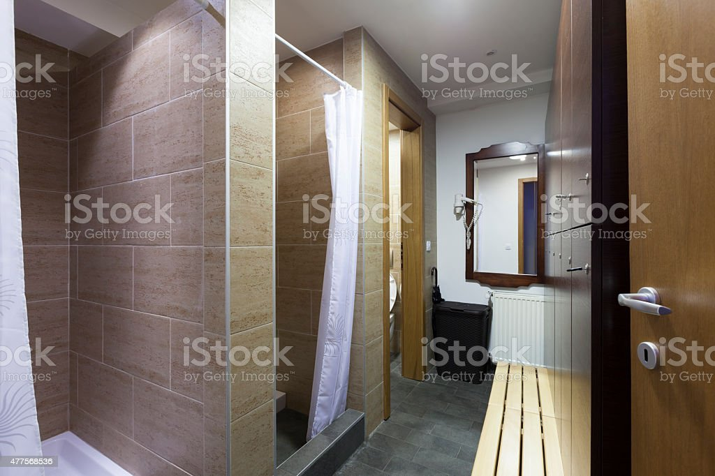 Shower room at spa center stock photo