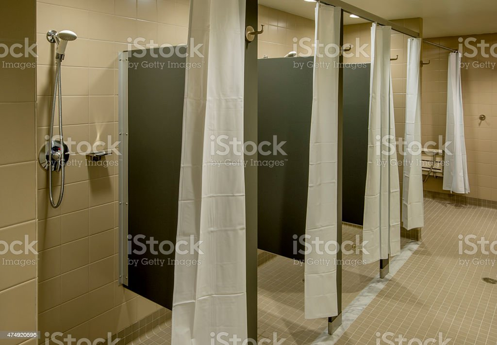 Shower Room at the Gym stock photo