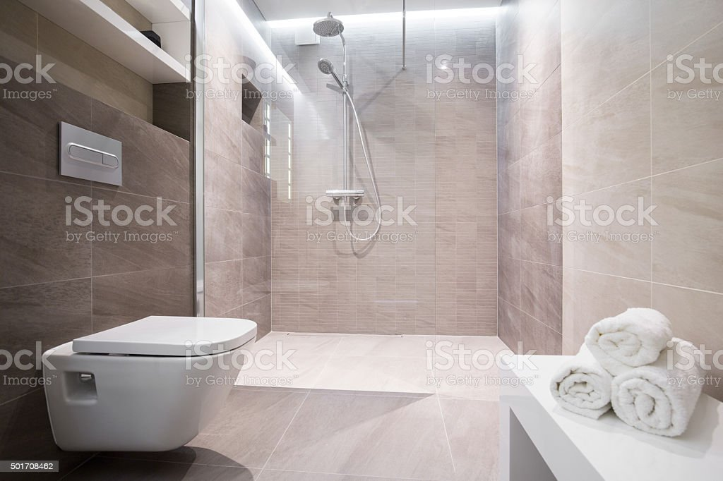 Shower with glass door stock photo